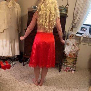 Vintage Olga red lace trimmed half slip